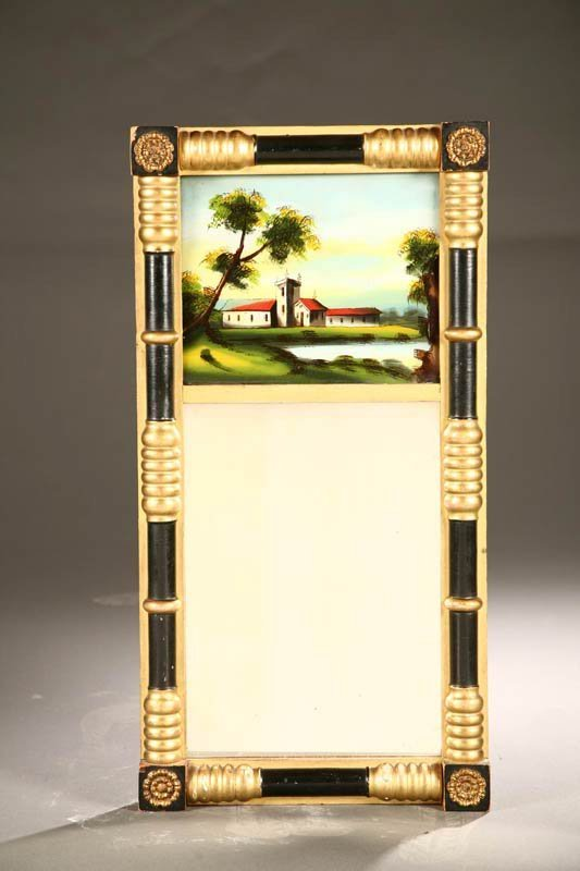 2013:  REVERSE PAINTED MIRROR.    Nineteenth century. H