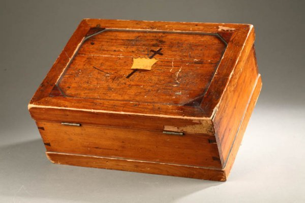 2017:  INLAID BOX.    American, late 19th century, pine