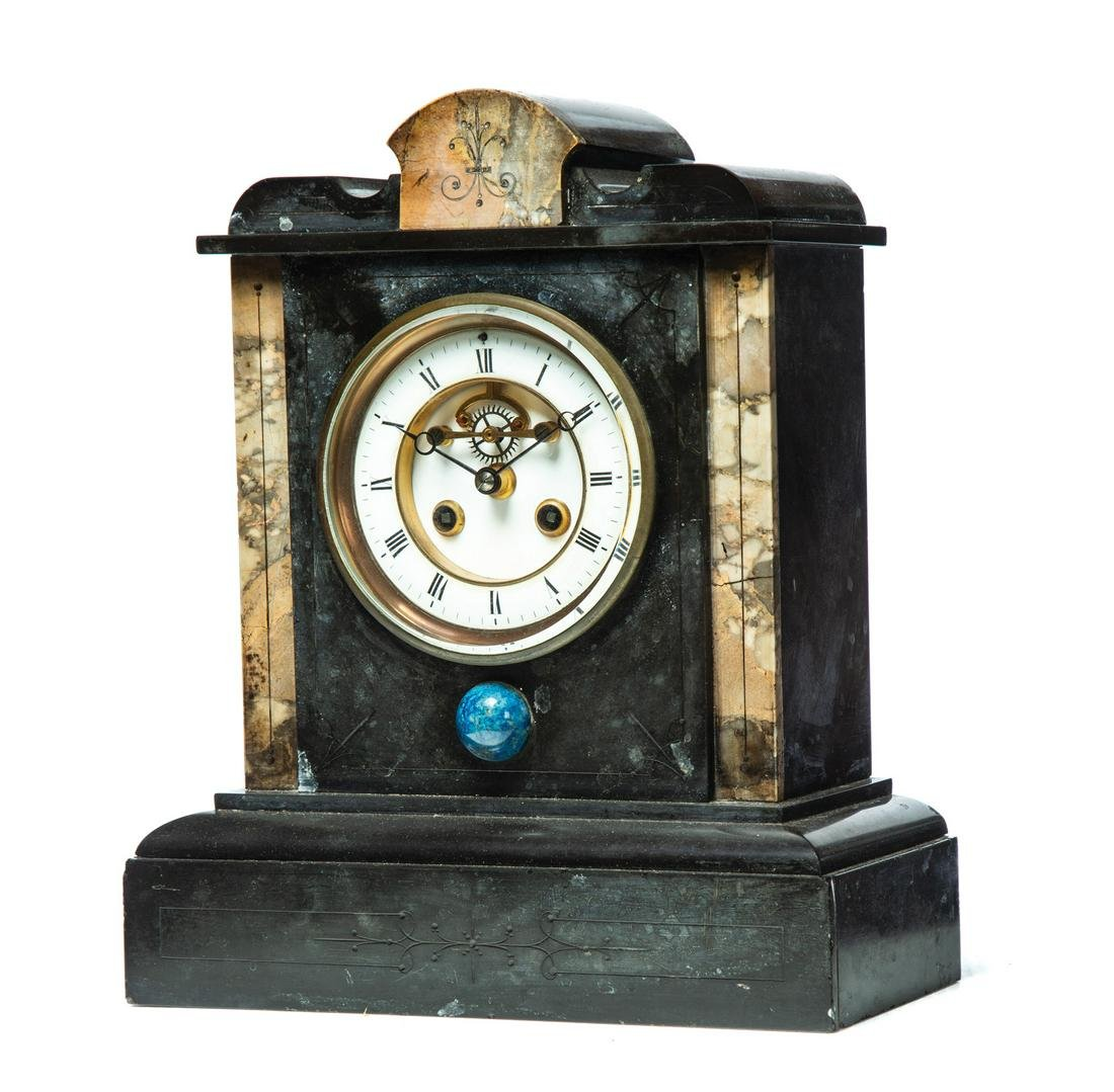 EASTLAKE VICTORIAN MANTLE CLOCK WITH OPEN ESCAPEMENT.