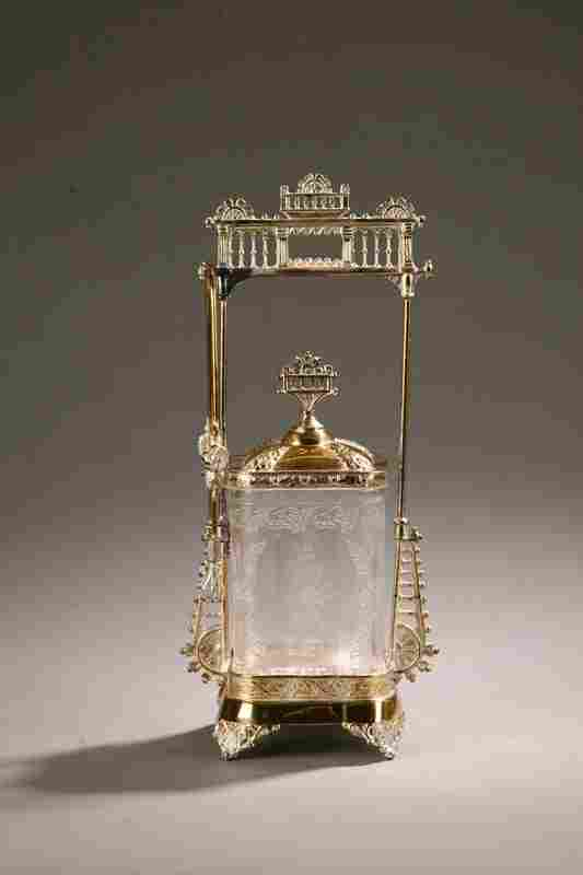 1253: VICTORIAN PICKLE CASTOR. Clear pattern glass jar