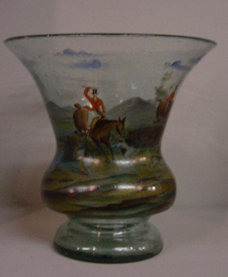 3: HANDPAINTED AQUA BLOWN VASE. Colorful hunt
