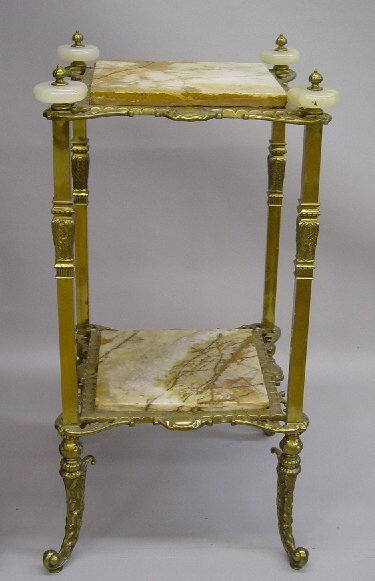 7: LARGE AND ORNATE  MARBLE AND BRASS PLANT S