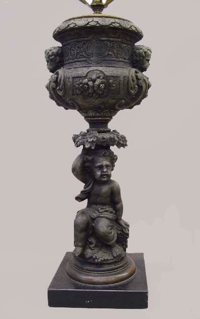 10: FIGURAL TABLE LAMP. Spelter with an old d