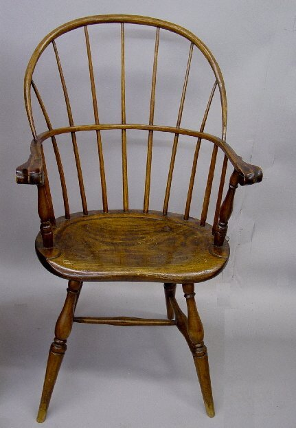13: WINDSOR ARM CHAIR. Maple, hickory and pin