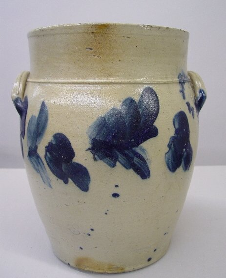 15A: STONEWARE CROCK WITH COBALT FOLIAGE DECO