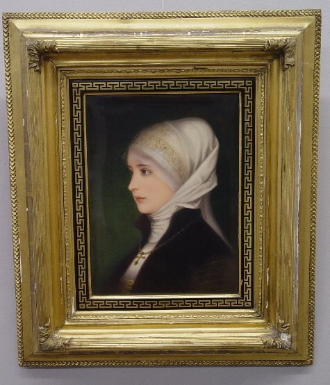 20: FRAMED PAINTING ON PORCELAIN OF A YOUNG L