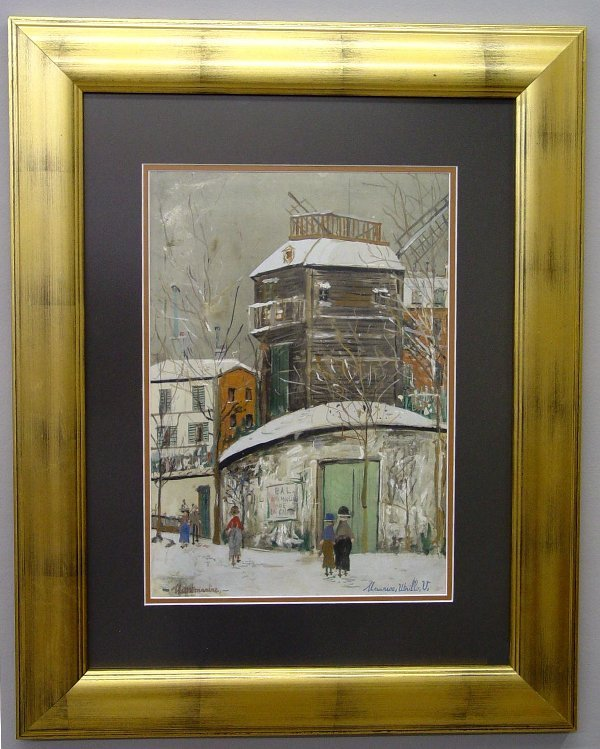 227: WATERCOLOR BY MAURICE UTRILLO. A winter