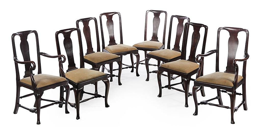 EIGHT AMERICAN QUEEN ANNE STYLE CHAIRS.