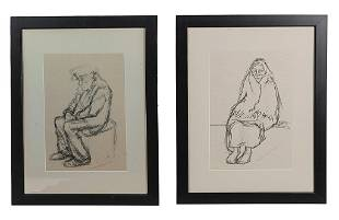 TWO LITHOGRAPHS OF SEATED FIGURES