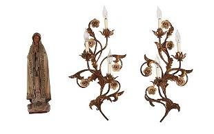 PAIR OF EUROPEAN WALL SCONCES AND STATUE