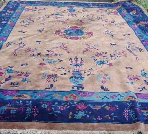 429: CHINESE RUG. Room size rug with dark blu