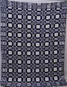 1009: JACQUARD COVERLET. Attributed to Long I