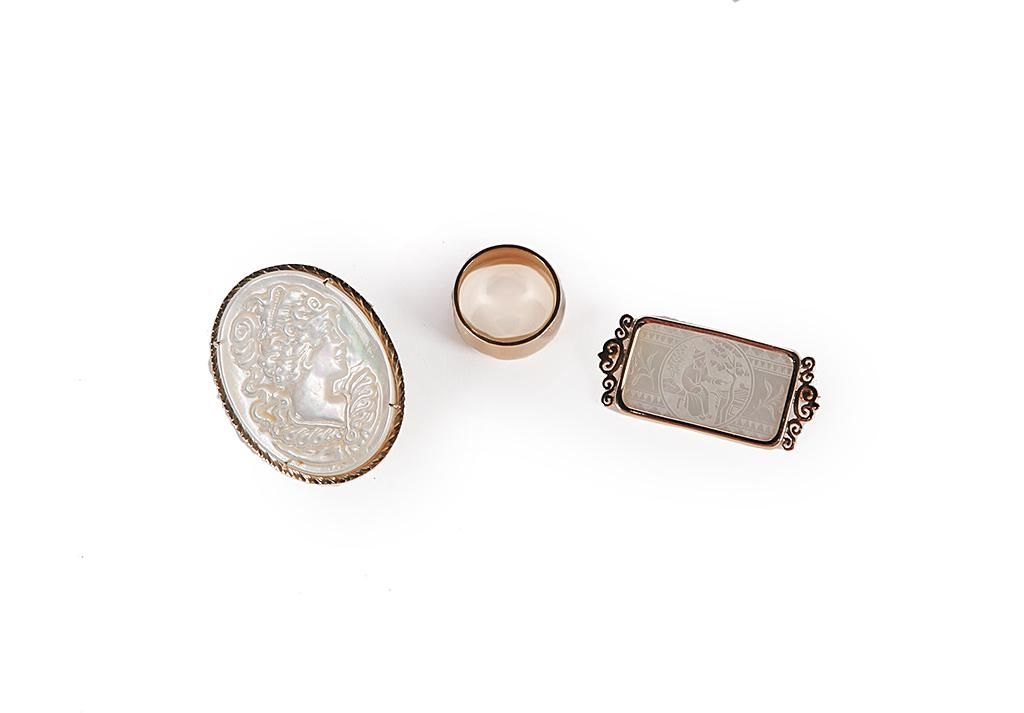 TWO VINTAGE GOLD AND MOTHER-OF-PEARL PINS AND ONE