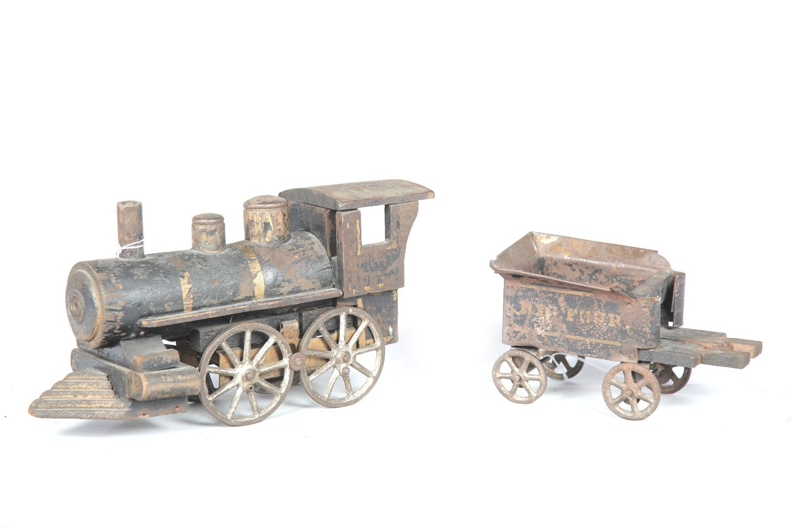 AMERICAN TOY STEAM ENGINE AND TENDER.