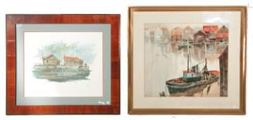 THREE FRAMED IMAGES OF WHARFS