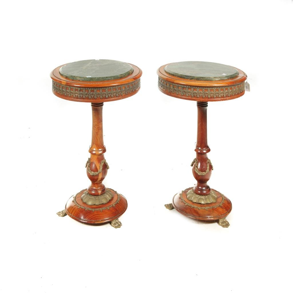 PAIR OF MARBLE TOP PLANT STANDS.