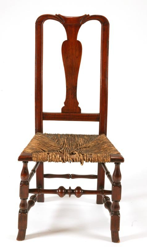 7: COUNTRY QUEEN ANNE SIDE CHAIR.