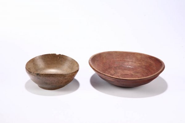 17: TWO TREENWARE BOWLS.