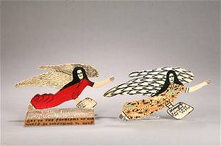 647: TWO FOLK SCULPTURES OF ANGELS BY HOWARD FINSTER (G
