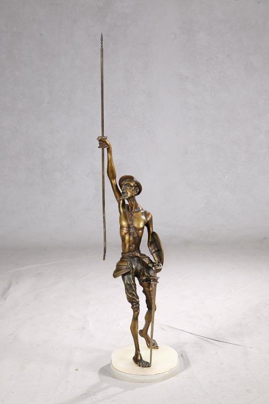 1005: STATUE OF DON QUIXOTE. Brass figural statue with