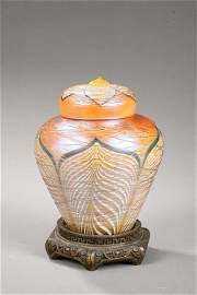1007: DURAND BOUDOIR LAMP. Ginger jar for in gold iride