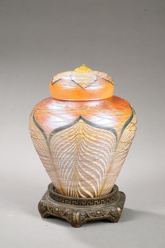 1007: DURAND BOUDOIR LAMP. Ginger jar for in gold iride