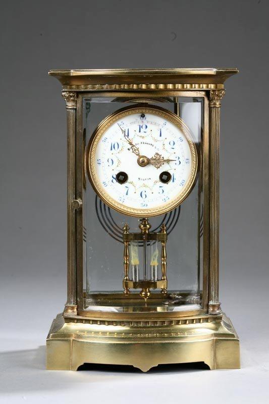 "1014: BRASS MANTLE CLOCK. Bigelow Kennard & Co, Boston"""
