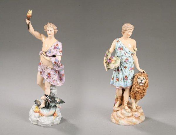1017: PAIR OF PORCELAIN FIGURES. Large porcelain figure