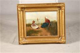 1087 FRAMED OIL ON CANVAS Dutch scene with two girls