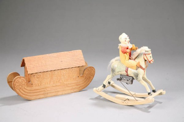 1419: TWO EARLY WOOD TOYS. Composition and wood clown o