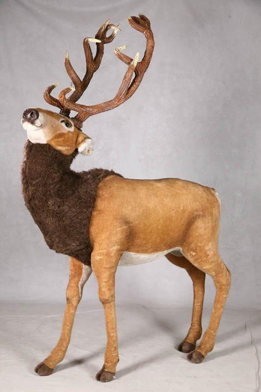 1504: STEIFF STUDIO ELK. Plush elk with foam antlers, b
