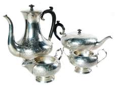 DINGWALL FOUR-PIECE STERLING TEASET.