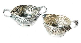 C.D. PEACOCK STERLING REPOUSSE CREAMER AND SUGAR.