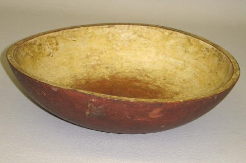 432: BOWL IN OLD RED PAINT. Maple with good color and a