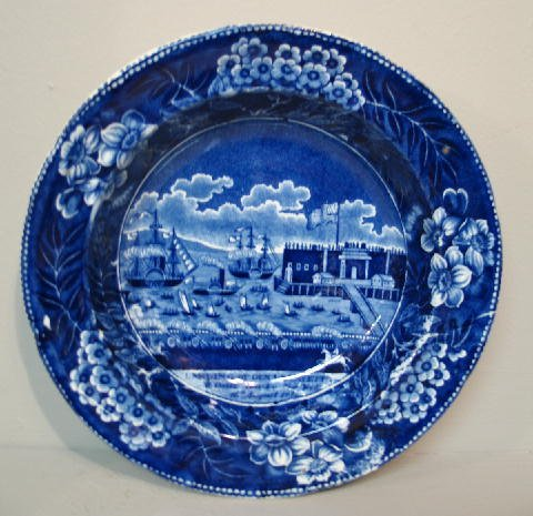 440: HISTORICAL BLUE STAFFRODSHIRE SOUP BOWL. Dark blue