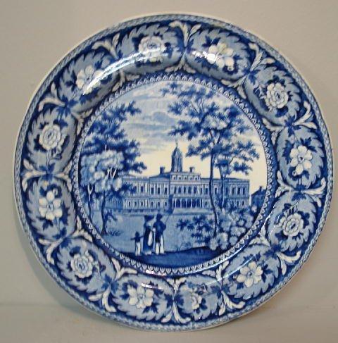 441: HISTORICAL BLUE STAFFORDSHIRE PLATE. Medium blue t