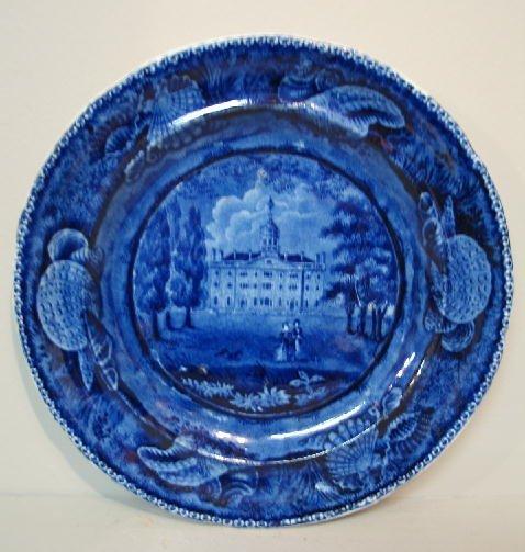 442: HISTORICAL BLUE STAFFORDSHIRE PLATE. Dark blue tra