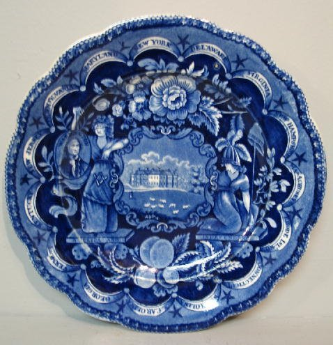 443: HISTORICAL BLUE STAFFORDSHIRE PLATE. States border