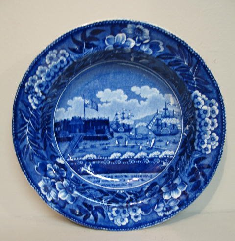 444: HISTORICAL BLUE STAFFORDSHIRE SOUP BOWL. Dark blue