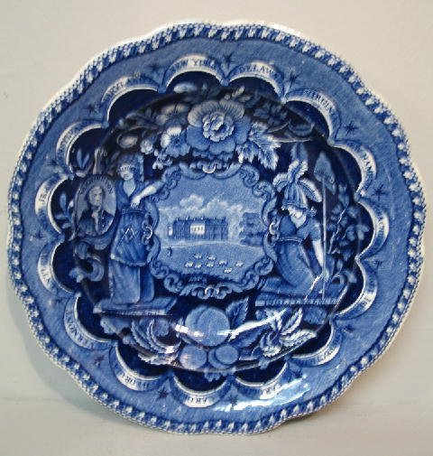 445: HISTORICAL BLUE STAFFORDSHIRE SOUP PLATE. States b
