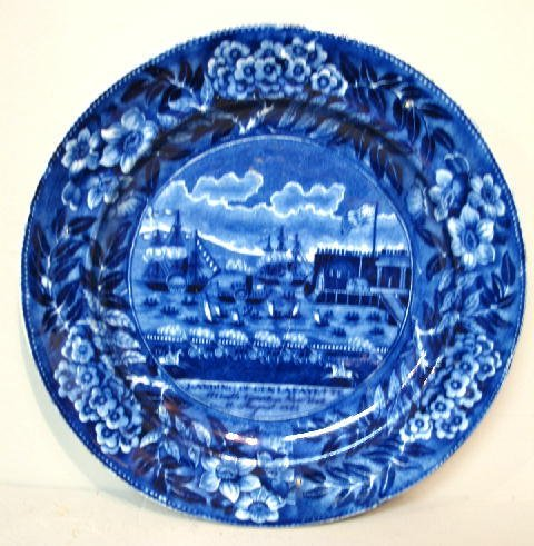 """446: HISTORICAL BLUE STAFFORDSHIRE PLATE. """"Landing of G"""