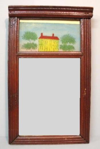 447: REVERSE GLASS PAINTED MIRROR. Two part mirror with