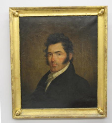 449: OIL ON CANVAS PAINTING. Portrait of a gentleman wi
