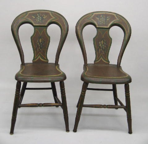 450: SET OF SIX DECORATED BALLOON BACK SIDE CHAIRS. Att