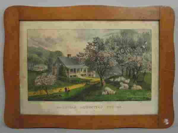 """530A: HANDCOLORED LITHOGRAPH BY """"CURRIER & IVES"""". """"Amer"""