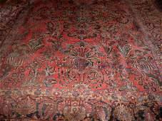 623: ORIENTAL RUG. Room size Sarouk. Wide, dark blue ab