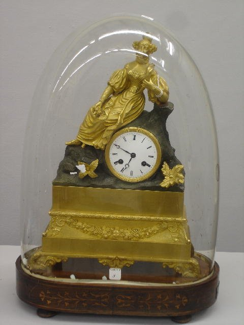 3: FINE FRENCH FIGURAL CLOCK WITH DOME. Original gildin