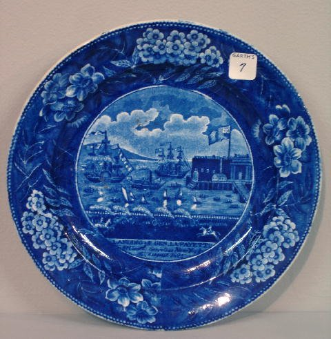 "7: HISTORICAL BLUE STAFFORDSHIRE PLATE. ""Landing of Gen"