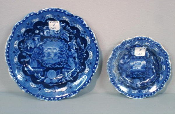8: TWO SMALL HISTORICAL BLUE STAFFORDSHIRE PLATES. Todd