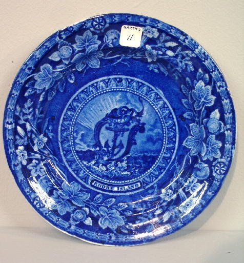 "11: HISTORICAL BLUE STAFFORDSHIRE PLATE. The Arms of ""R"